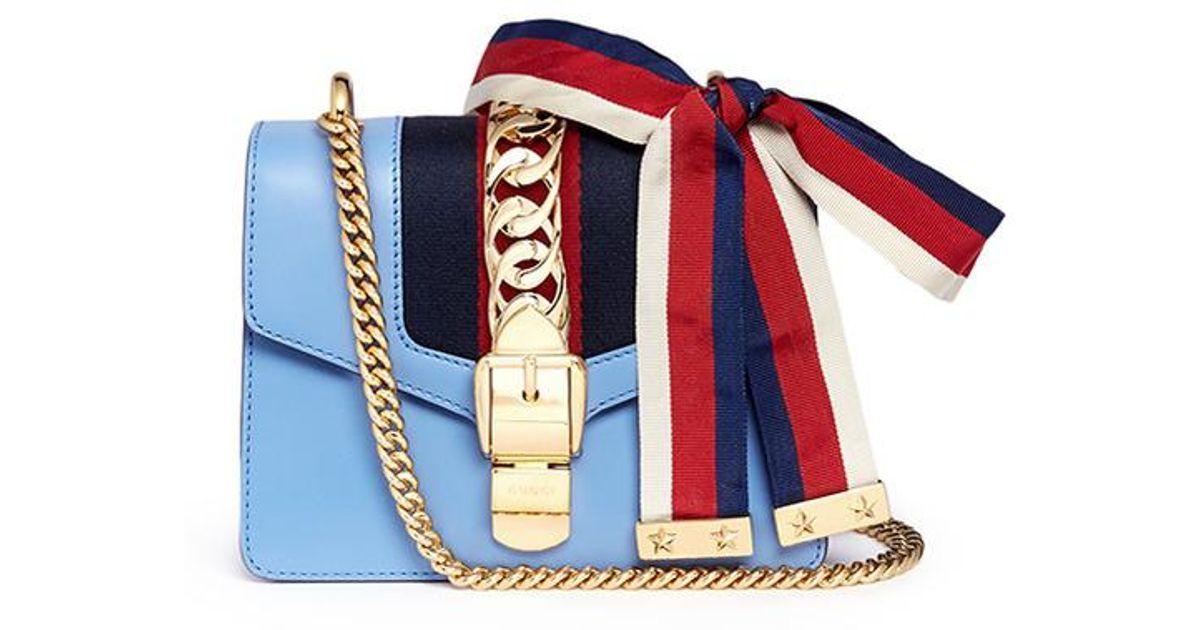 db0f42c0dc17 Gucci 'sylvie' Mini Chain Web Leather Crossbody Bag in Blue - Lyst