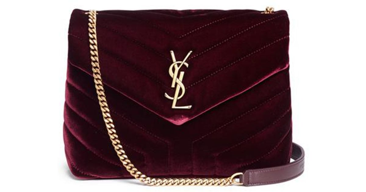 3759cdbc56 Lyst - Saint Laurent Burgundy Velvet Toy Loulou Shoulder Bag