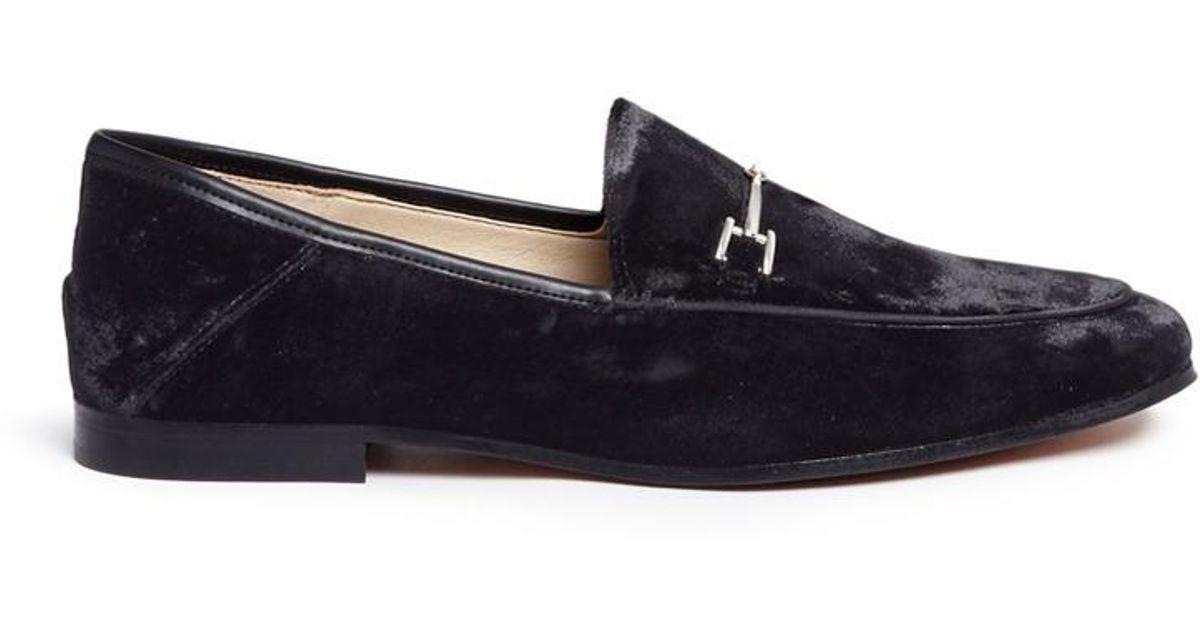 7de6c9ab2ce80 Lyst - Sam Edelman  loraine  Horsebit Crushed Velvet Step-in Loafers in  Black