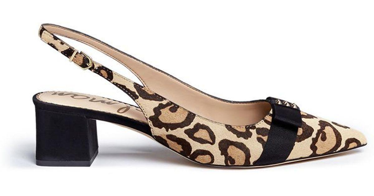4552bafa9c345 Lyst - Sam Edelman  alwyn  Leopard Print Calfhair Slingback Pumps in Brown