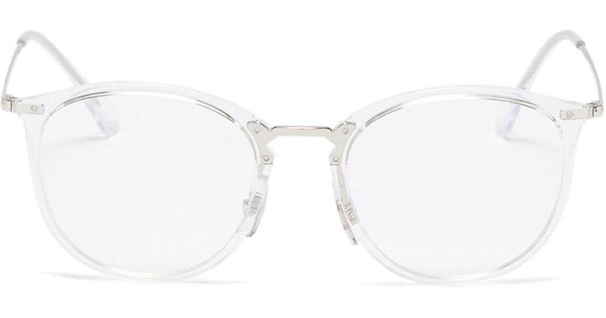 476164e3fd ... switzerland lyst ray ban rx7140 metal temple acetate round optical  glasses in white f8b37 cf9bf