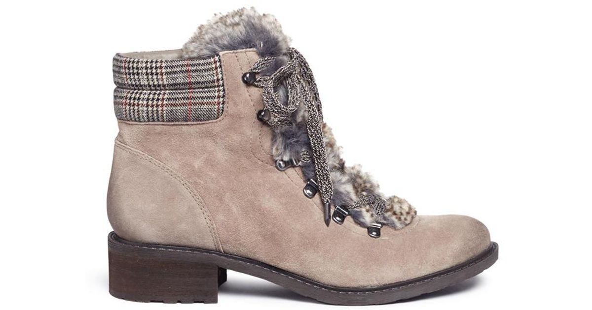 42b34cb2c631b Sam Edelman  darrah  Faux Fur And Suede Combat Boots in Gray - Lyst