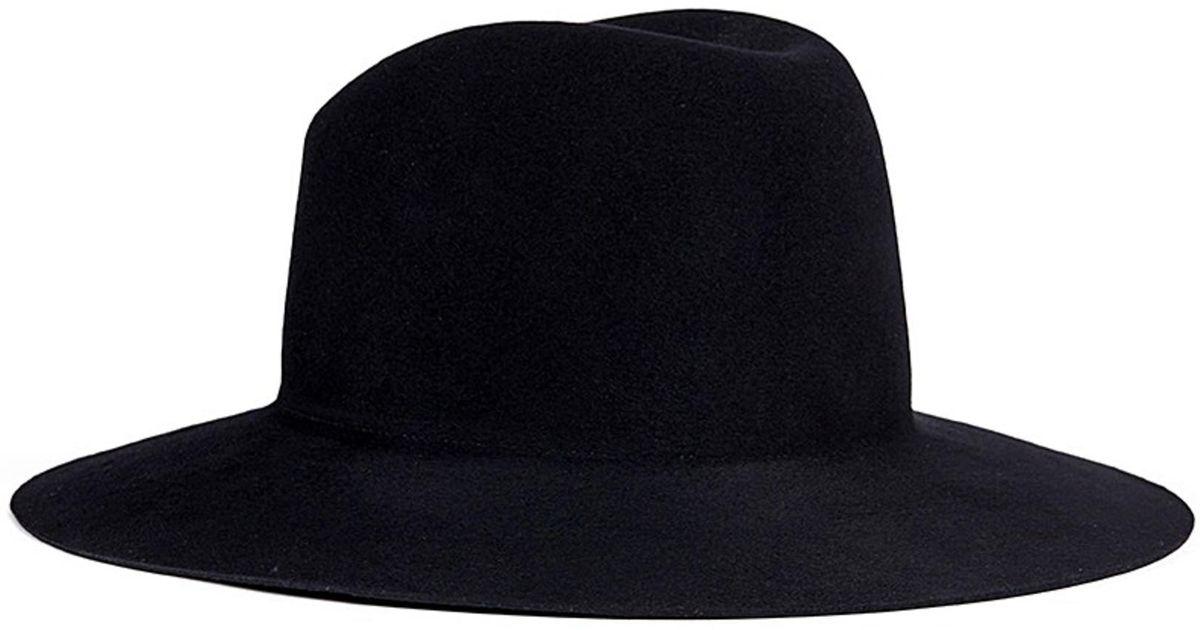 e10660a685c5b Janessa Leone  trois  Wool Felt Fedora Hat in Black - Lyst