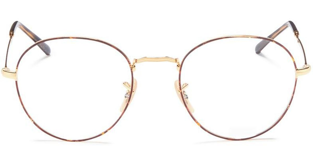 b9b44329a6c Ray-Ban  rb3582v  Tortoiseshell Rim Metal Round Optical Glasses in Metallic  - Lyst