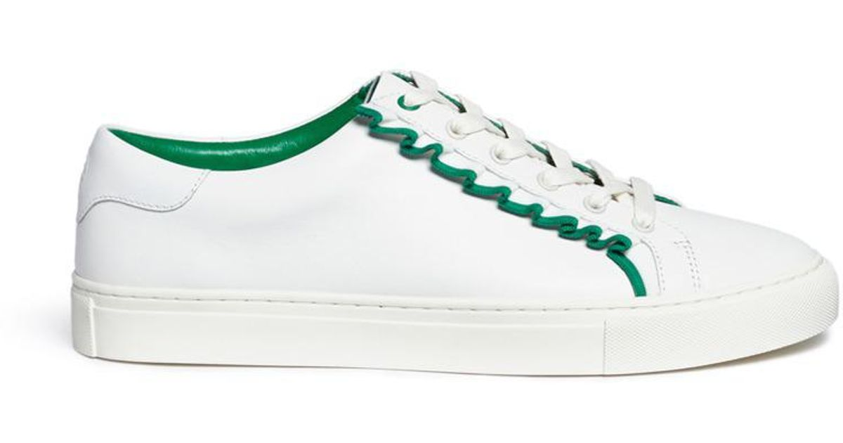 74cc9123559 Lyst - Tory Burch Tory Sport Ruffled Leather Sneakers in White