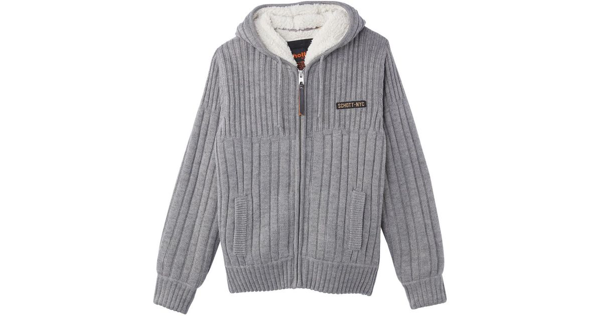 ea89ddcca Schott Nyc Pl Duncan Hooded Sherpa-lined Zip-up Cardigan in Gray for Men -  Lyst