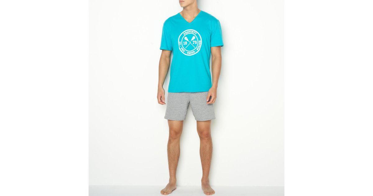 Lyst - La Redoute Short Cotton Jersey V-neck Pyjamas in Blue for Men b86e8aed6