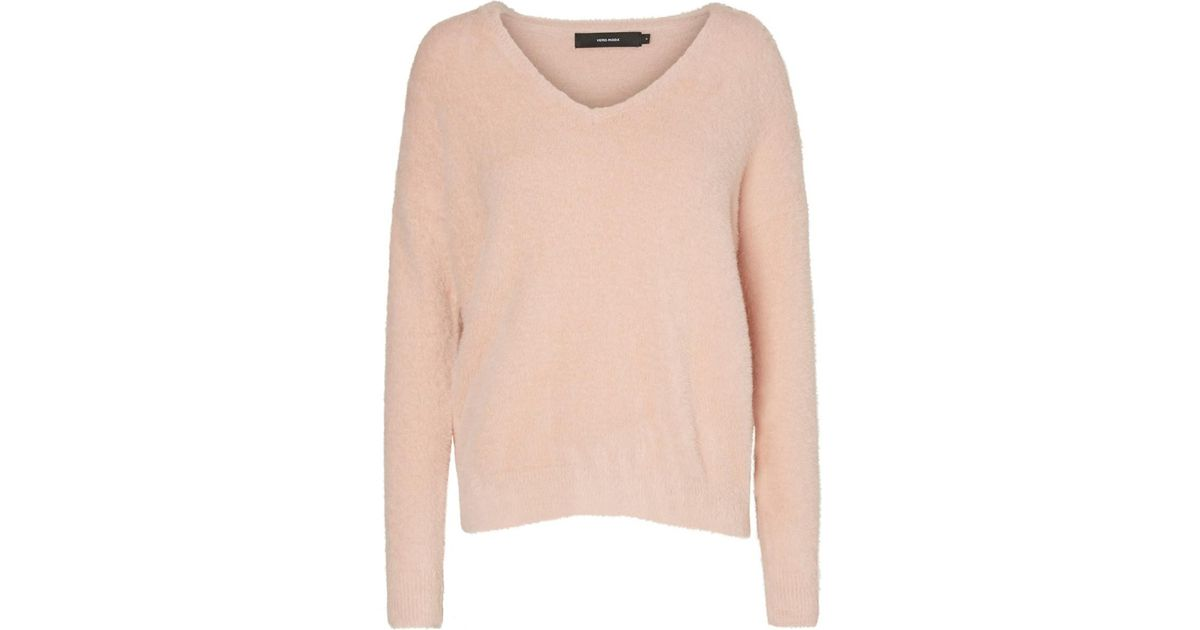 Vero Moda Knitting Yarns : Lyst vero moda fine knit v neck jumper sweater in pink