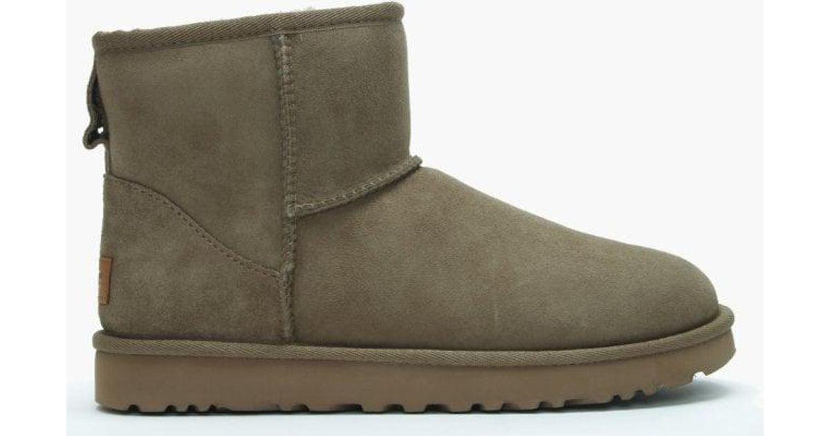 lyst ugg classic mini ii antilope twinface boots in green rh lyst com