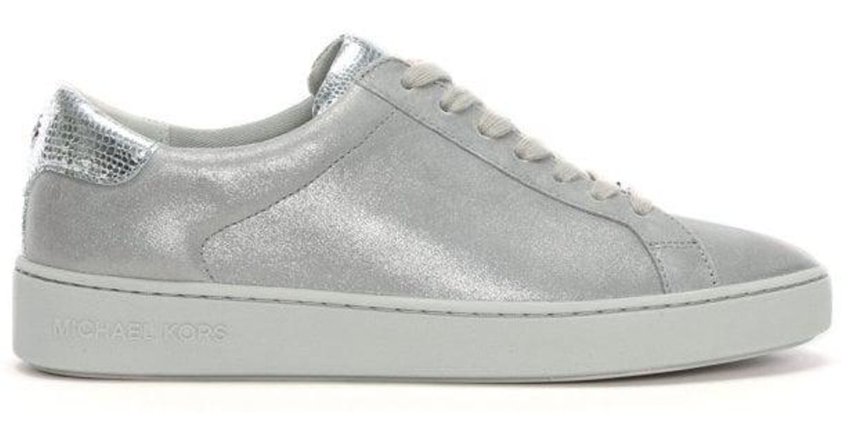 5eb7c92b4e7a Lyst - Michael Kors Irving Silver Metallic Leather Lace Up Trainers in  Metallic