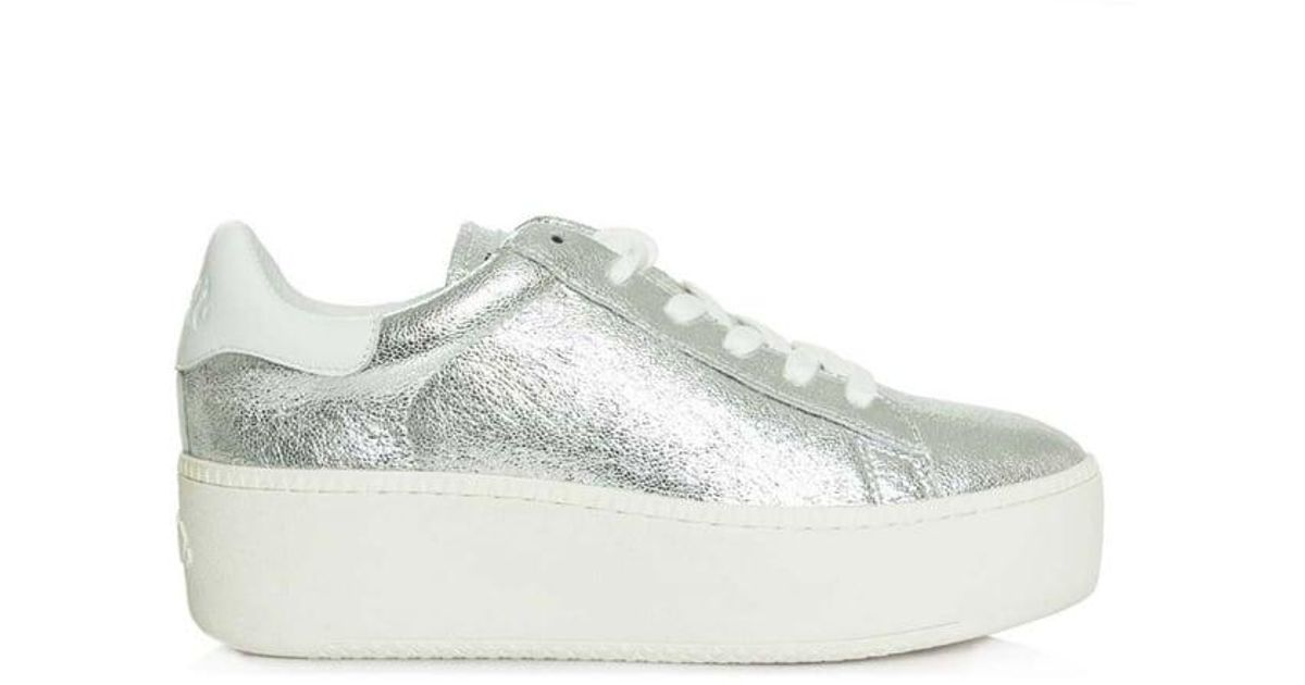 0dd19d6ec298 Lyst - Ash Cult Cracked Silver Leather Chunky Sole Trainer in Metallic