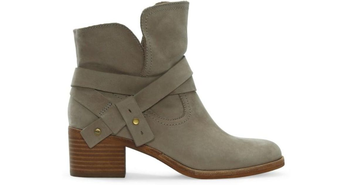 d534a8187624d3 UGG Elora Sahara Suede Stacked Heel Ankle Boots - Lyst