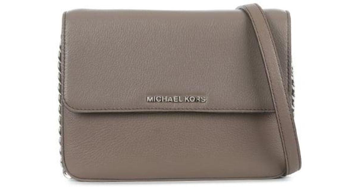 1b9a9b97522d Lyst - Michael Kors Bedford Cinder Leather Flap Gusset Cross-body Bag in  Gray