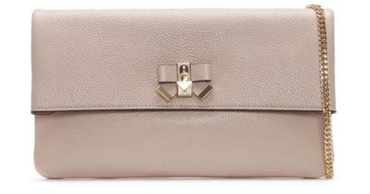 12de3c855a11 Lyst - Michael Kors Everly Soft Pink Leather Clutch Bag in Pink