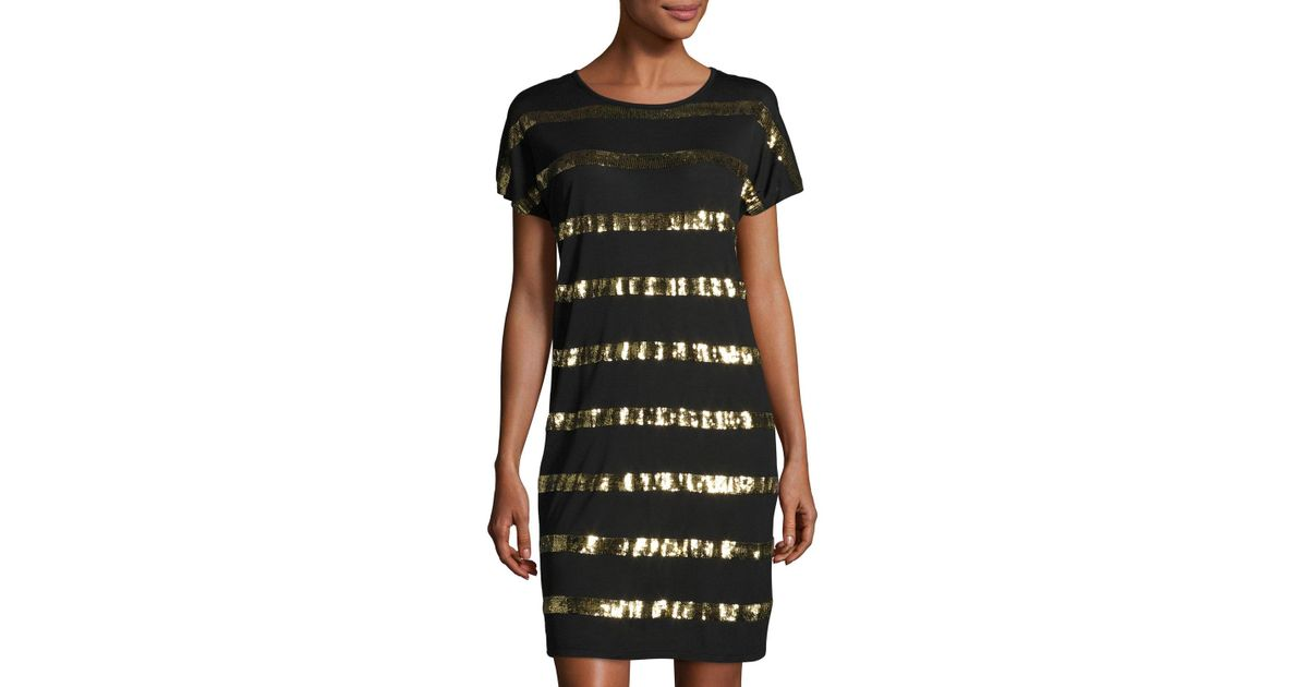 4ea48365715d MICHAEL Michael Kors Sequined-stripe Dolman-sleeve Dress in Black - Lyst