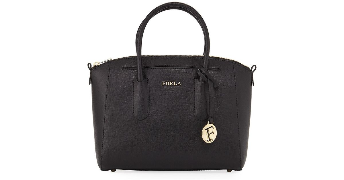 e6dd5254f69eec Furla Tessa Small Saffiano Leather Satchel Bag in Black - Lyst