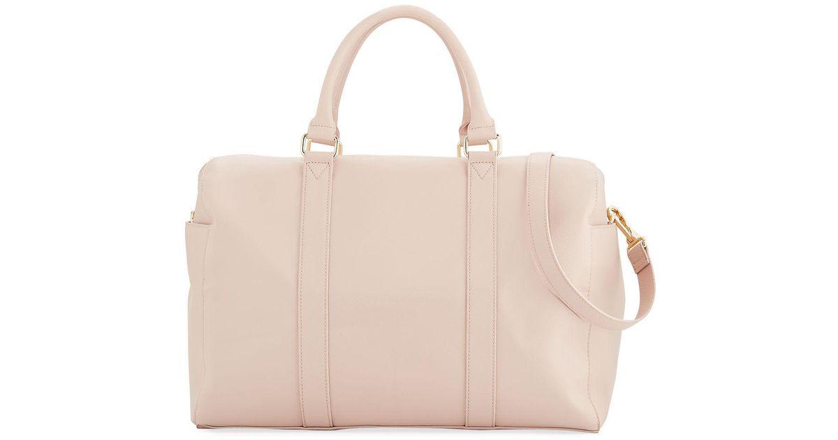 Lyst - Neiman Marcus Faux-saffiano Weekender Duffel Travel Bag in Blue 1a18618b2053d