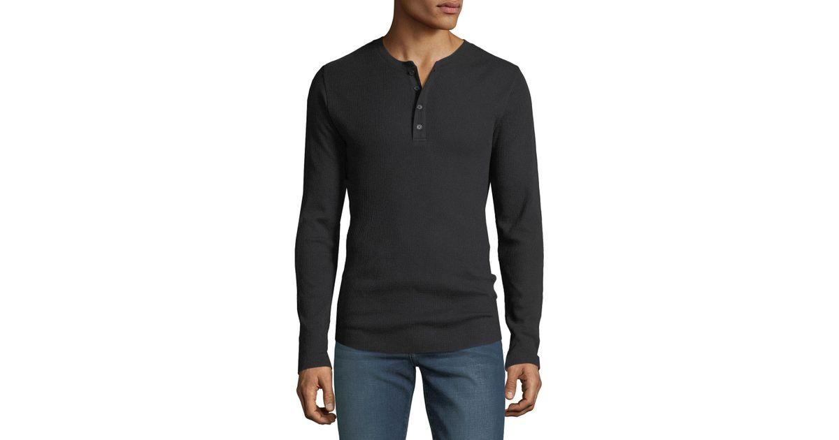 135c0e0b Vince Mens Waffle Long Sleeve Henley Shirts