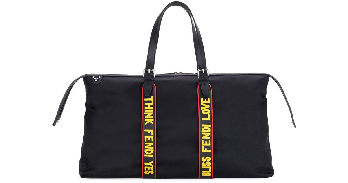 Lyst - Fendi Vocabulary Nylon   Leather Travel Duffel Bag in Black a4da46b6aa