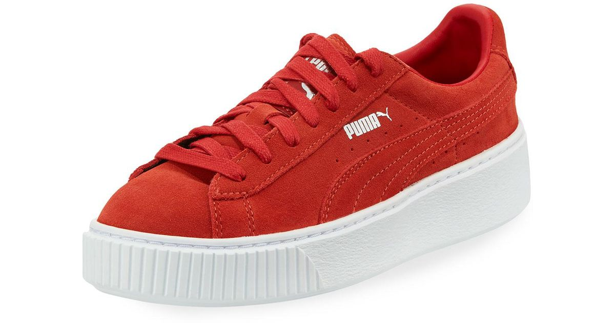 Lyst - PUMA Suede Platform Lace-up Sneaker in Red for Men 913c0b6aa7fe