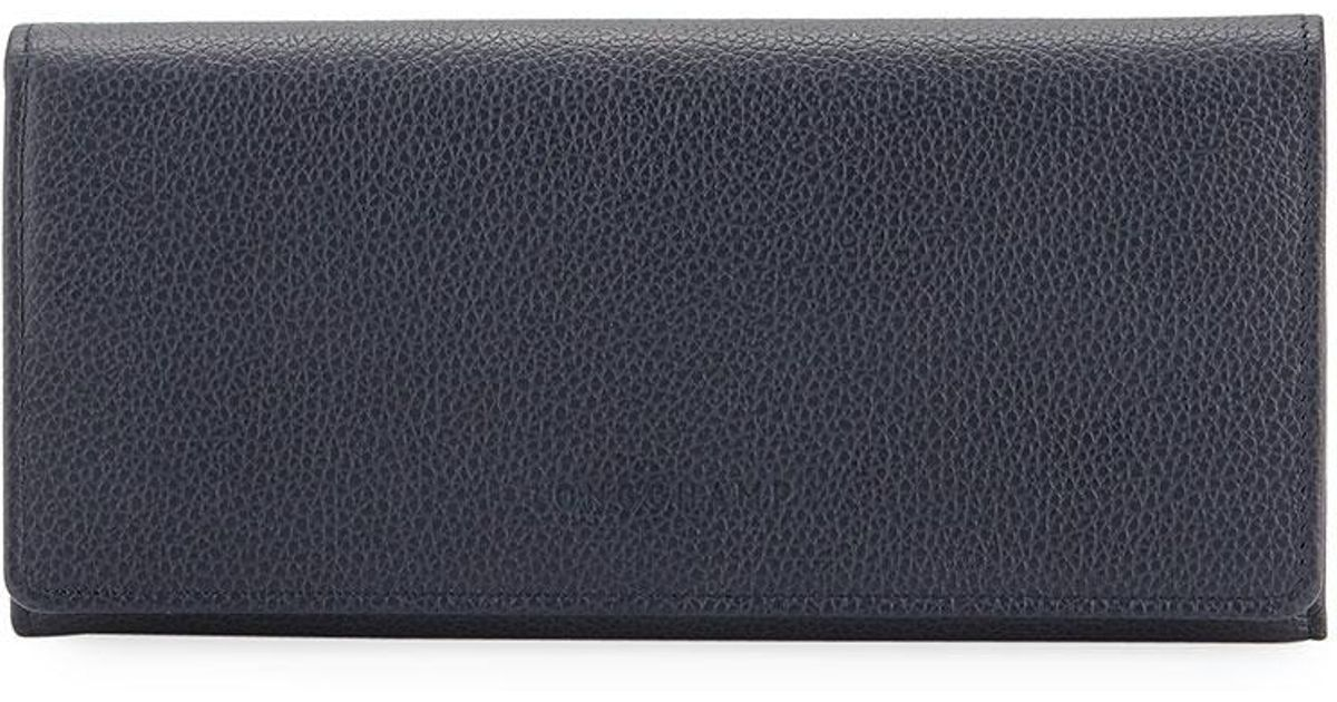 3216bd4e9ec Lyst - Longchamp Le Foulonne Pebbled Leather Wallet in Blue
