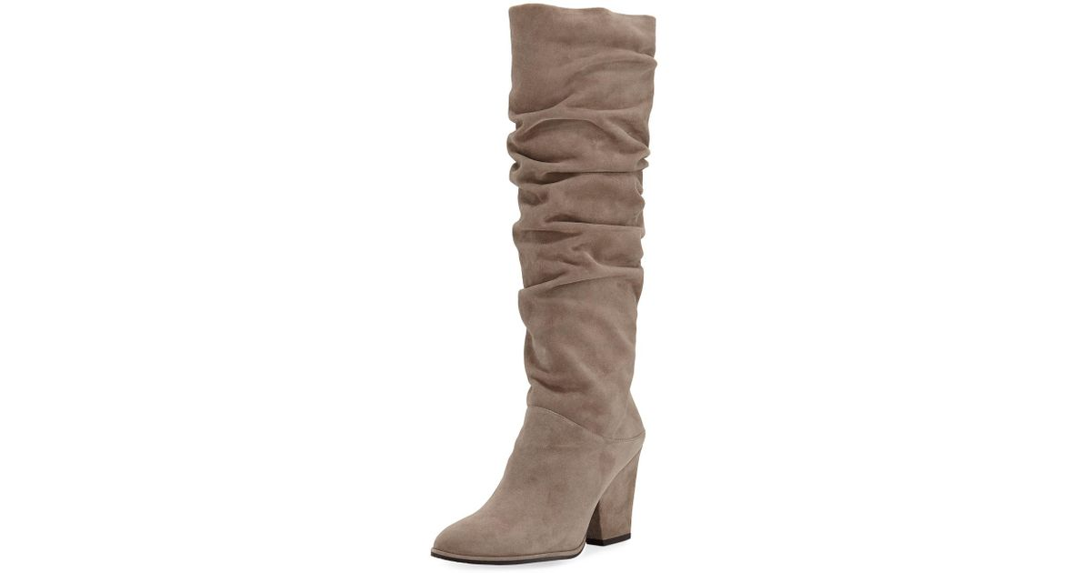 2a2dbc19dc3 Lyst - Stuart Weitzman Smashing Slouchy Suede Knee Boots in Natural