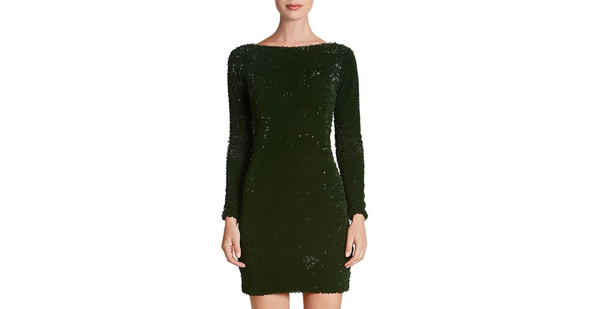 129f2193d64 Dress the Population Lola Long-sleeve Scoop-back Sequin Mini Cocktail Dress  in Green - Lyst