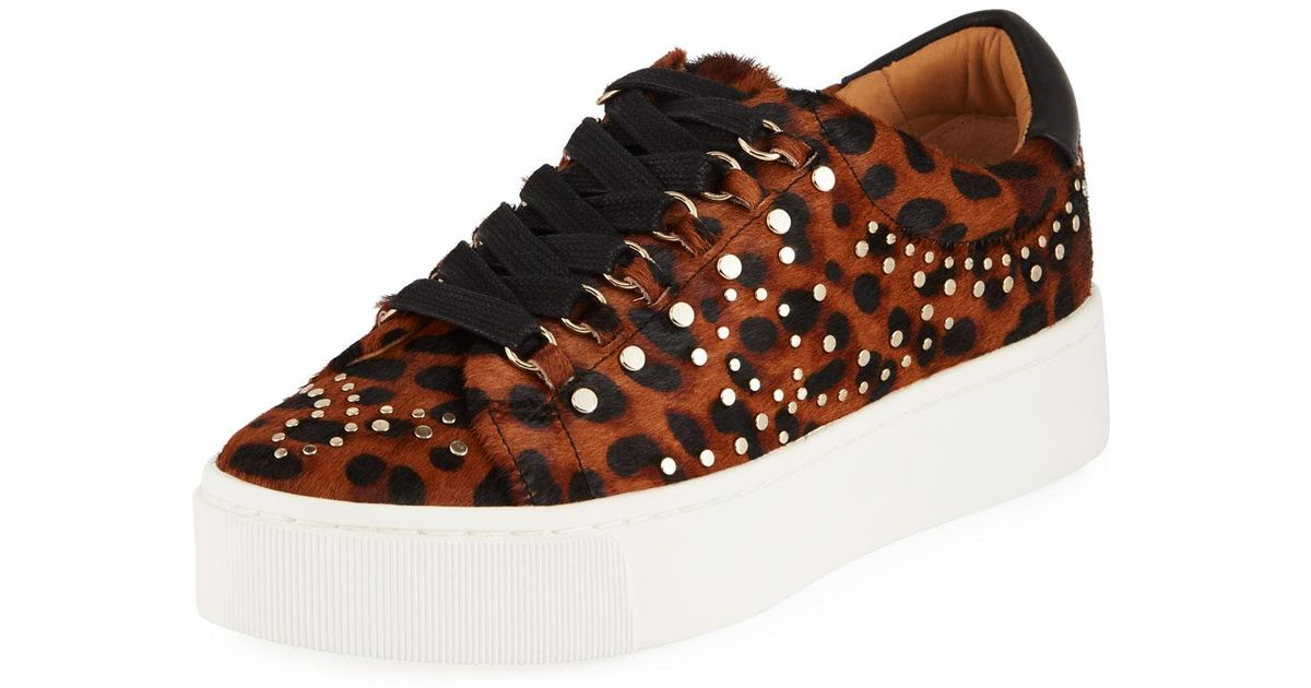 5f62aed77542 Joie Handan Studded Leopard-print Platform Sneakers in Brown - Lyst