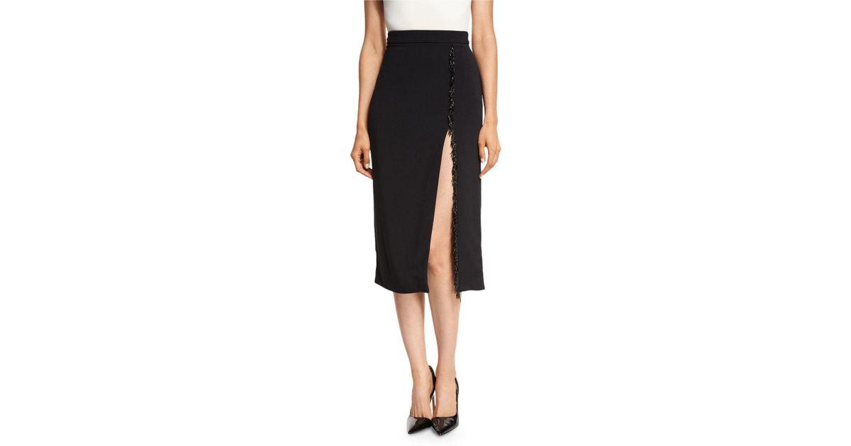 4b8bd4cb5 Lyst - Cushnie Et Ochs Beaded-trim High-slit Pencil Skirt in Black