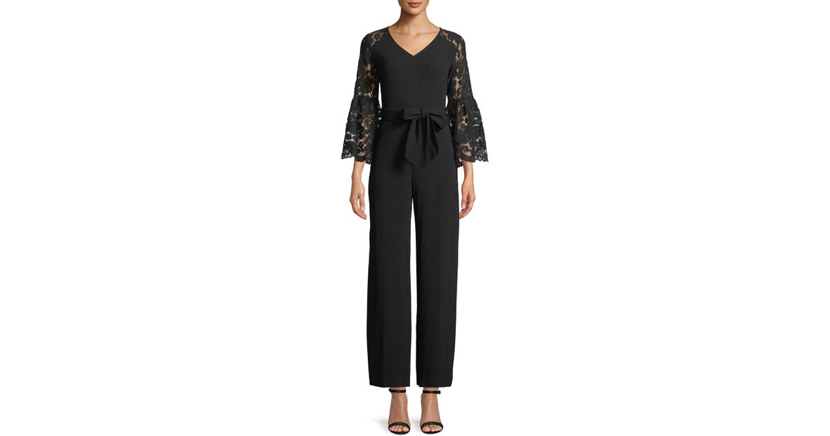 0b9207927bb1 Lyst - Cece by Cynthia Steffe Lace Bell-sleeve Jumpsuit in Black
