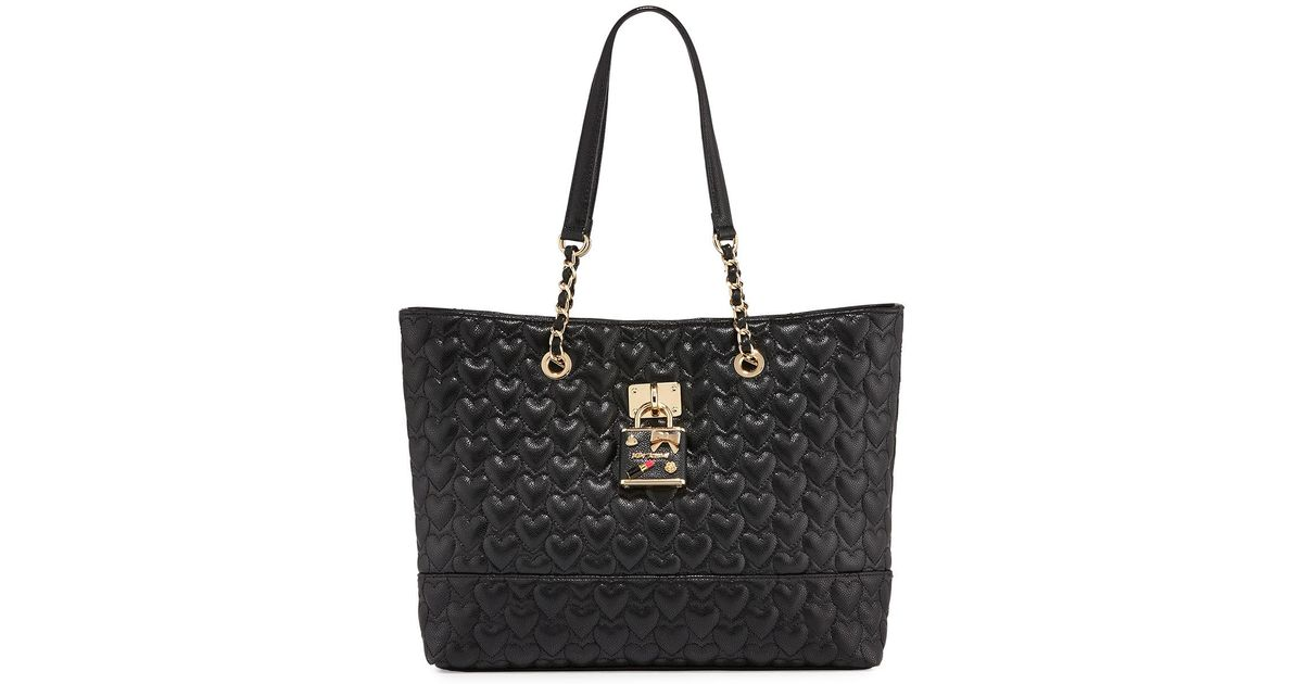 betsey johnson be my baby quilted tote bag in black lyst