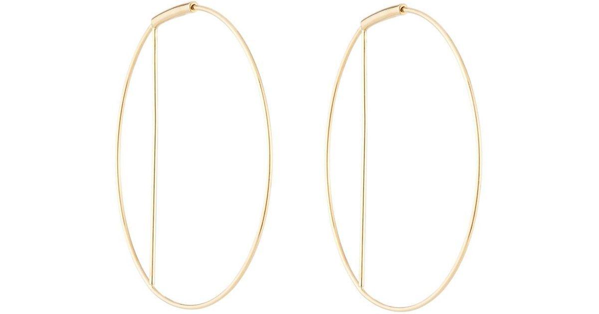 Lana Jewelry Metallic Eclipse 14k Gold Wire Hoop Earrings 40mm