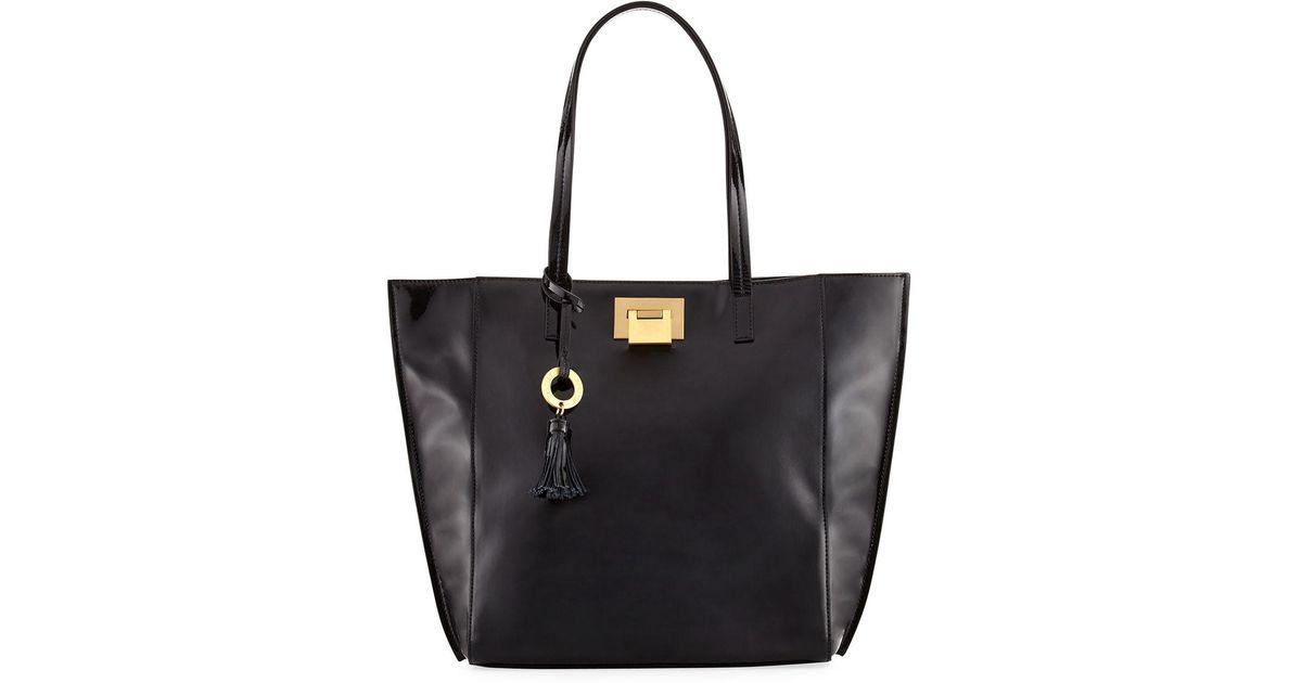 Lyst - Badgley Mischka Bobbie Patent Leather Tote Bag in Black bac3975acb2f4