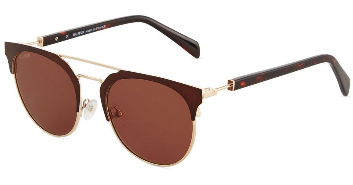 9758348cd87c Lyst - Balmain Round Browline Acetate metal Sunglasses in Brown
