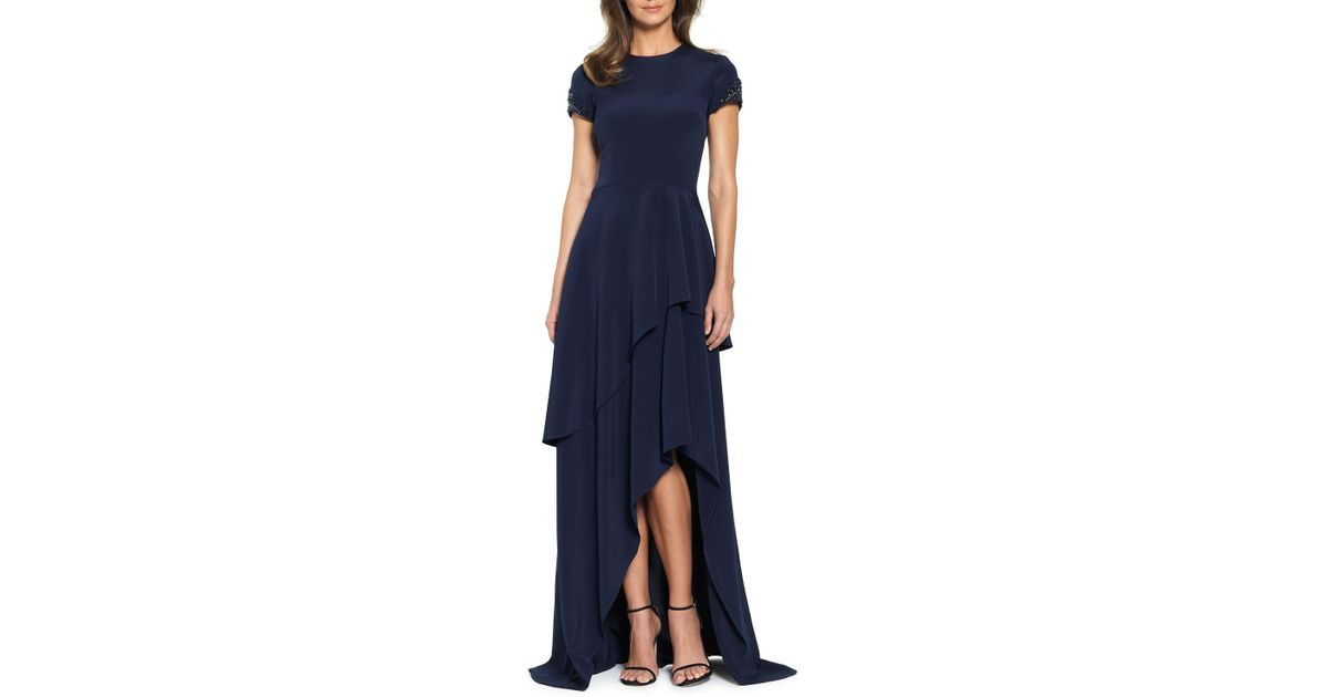 Lyst - David Meister Ruffle-tiered Short Sleeve Evening Gown in Blue