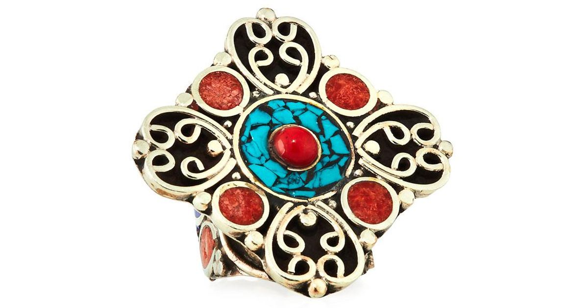 Devon Leigh Coral & Turquoise Adjustable Flower Ring Jveff