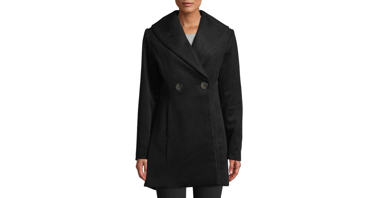 6627a0905b8d3 Lyst - T Tahari Colette Fit   Flare Wool-blend Coat in Black