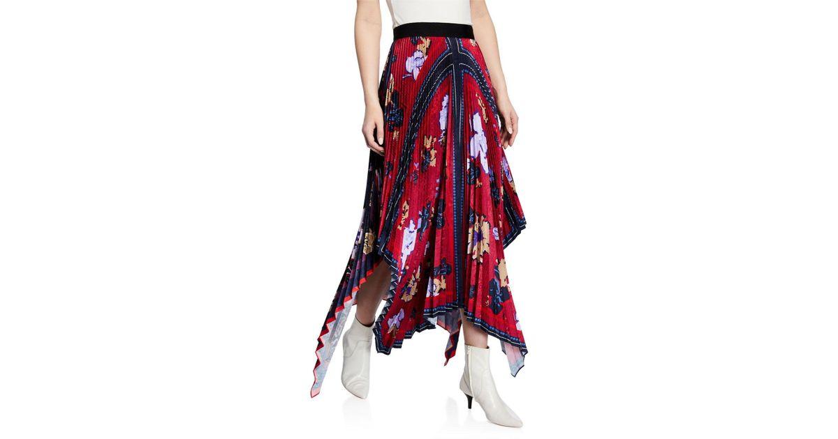 ff7abe8b0 Yigal Azrouël Pleated Handkerchief Midi Skirt in Blue - Lyst