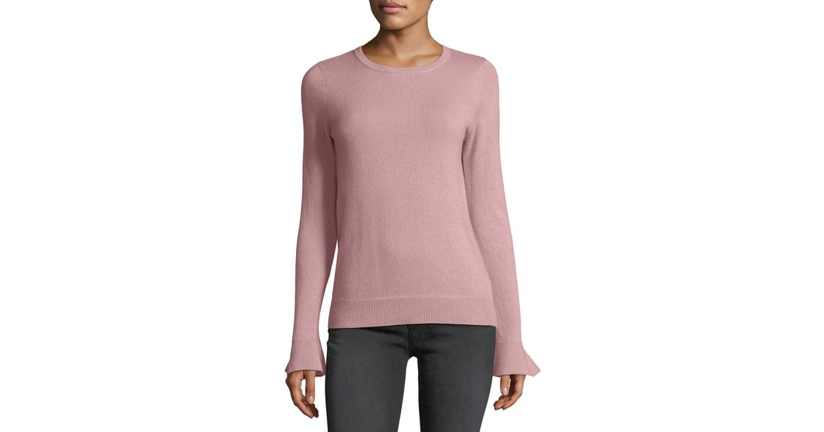 1e32fff6bb6d Lyst - Neiman Marcus Cashmere Bell-cuff Sweater in Pink