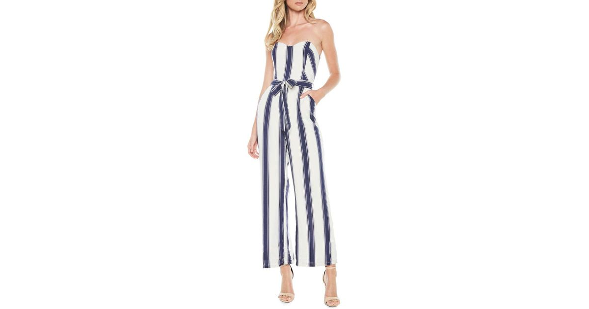 3c1b0366795 Lyst - Bardot Evie Striped Strapless Belted Jumpsuit in Blue