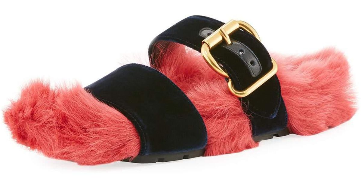 88750992488 Lyst - Prada Fur Velvet Slide Sandal in Red