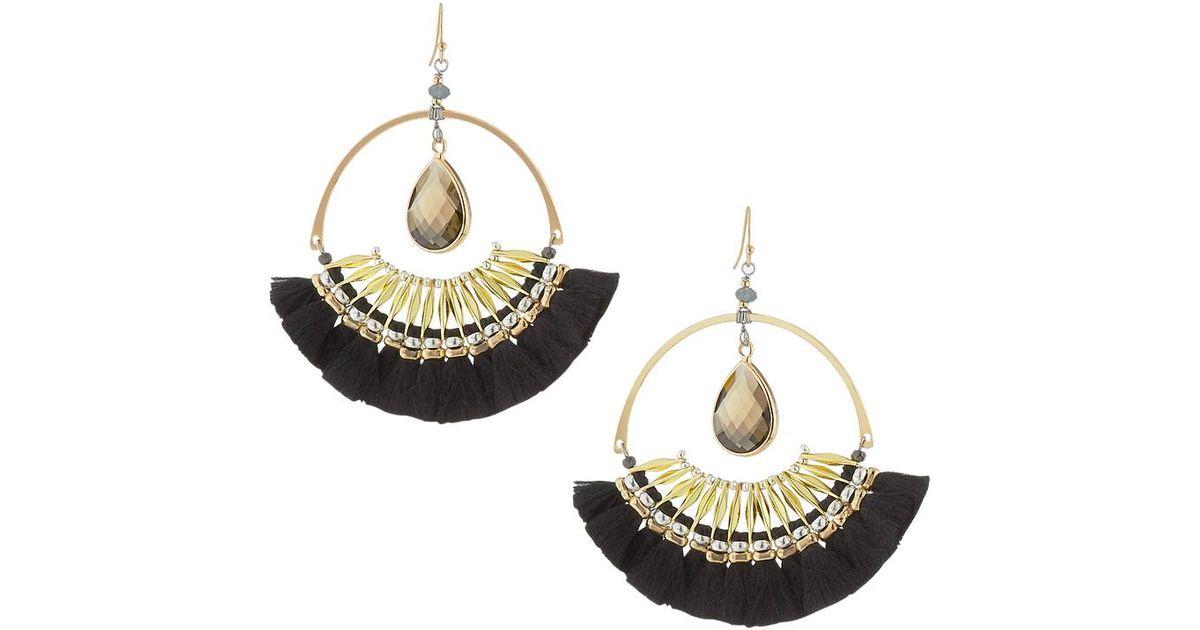 398aba30b Lyst - Nakamol Crystal & Fringe Hoop Drop Earrings in Black