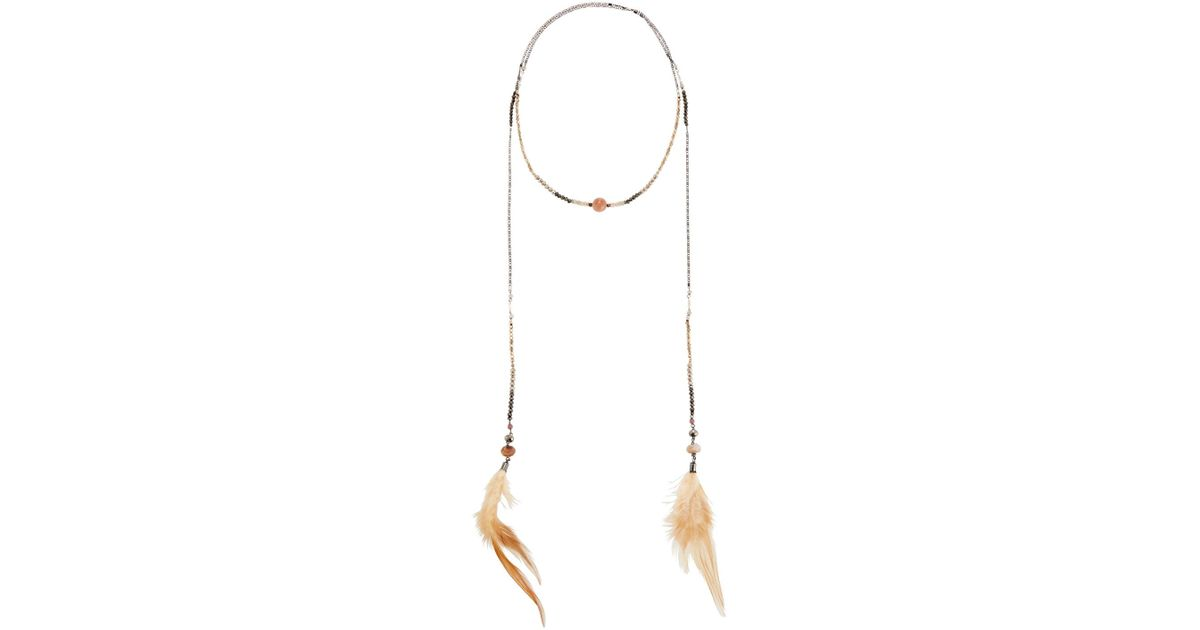 Nakamol Beaded Lariat Feather Necklace BkY8fda