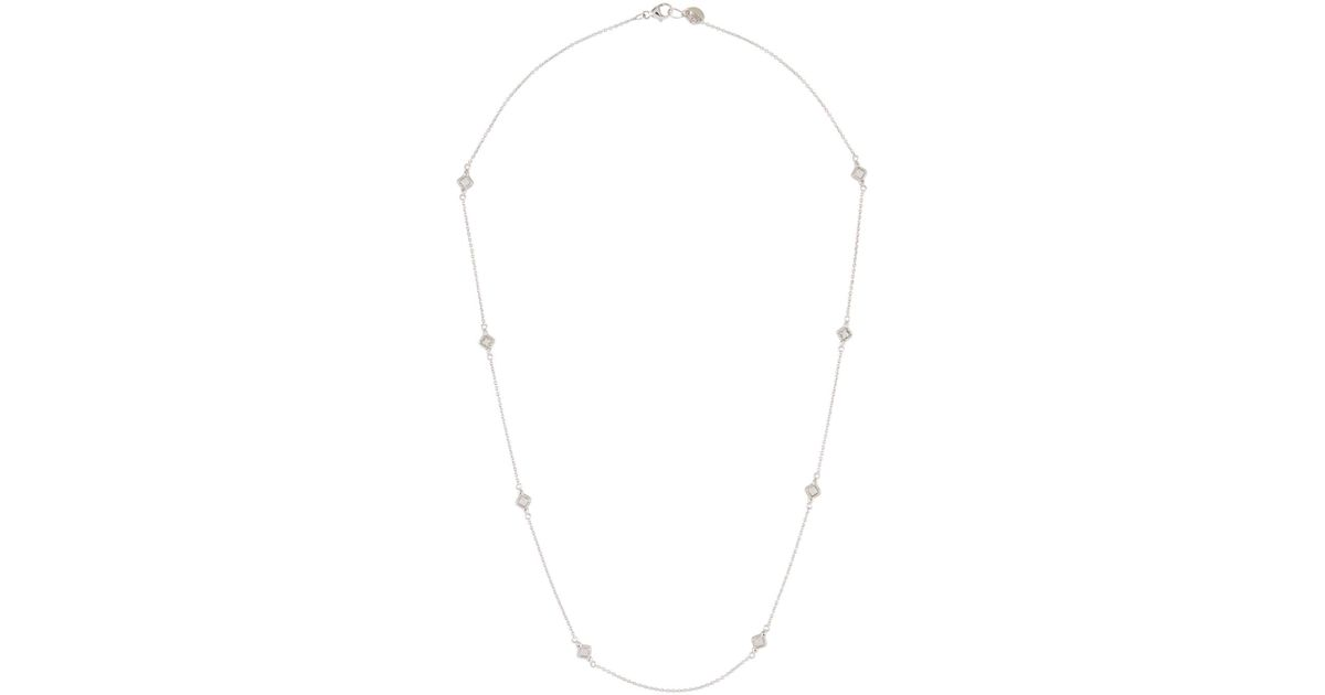 Jude Frances 18K Lisse Cushion Necklace, White Topaz