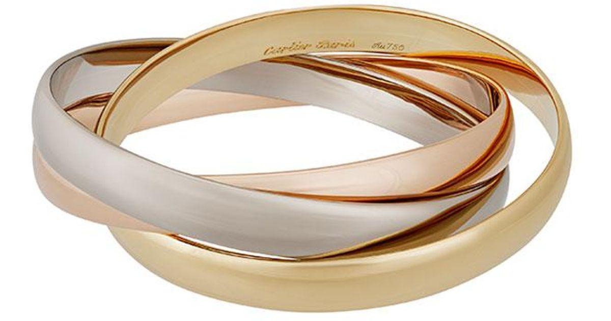 Cartier Estate Trinity de Cartier 18k Gold Classic Triple-Band Bangle 56tQK6ShW