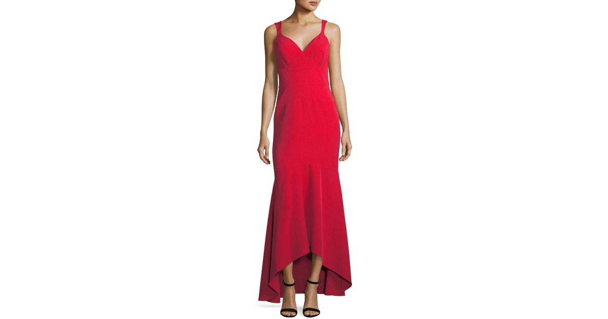 Lyst - Nicole Miller High-low Trumpet Evening Gown in Red