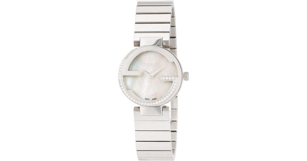 1deb77e3f88 Lyst - Gucci Small Interlocking Stainless Steel Diamond Bracelet Watch