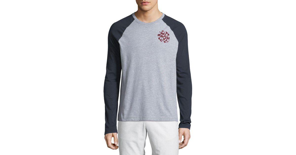 326cd762bc Original Penguin Men's Warped-check Crewneck Long-sleeve Raglan Shirt in  Gray for Men - Lyst