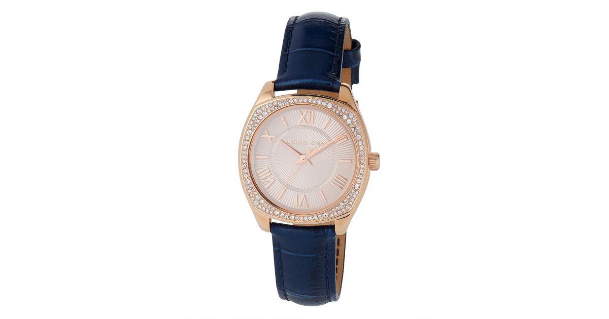 baa08cd7abae Lyst - MICHAEL Michael Kors 32mm Bryn Mini Crystal Watch W  Leather  Rose blue