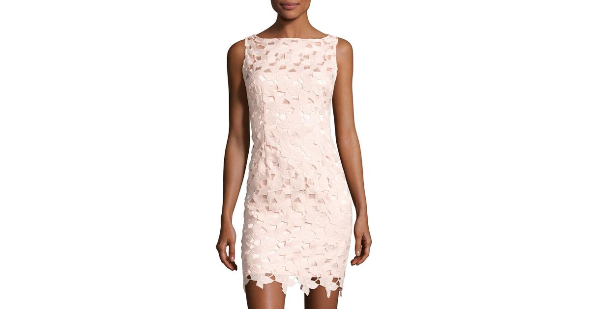 14110a34 Lyst - Tahari Sleeveless Chemical Lace Sheath Dress in Pink